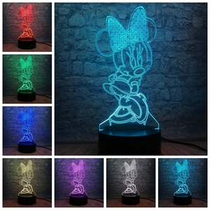 Image 2 - 3D LED Lamp Bedroom Minnie Mickey Stitch Table Night Light 7 Color Change Base Lamp Baby Bedroom Decor Kids Drop Shipping