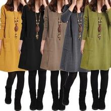 2018 Autumn Winter Long Sleeves Mini Dress Plus Size 3XL 4XL 5XL Women School Dress Pockets Solid V Neck Loose Dress robe female
