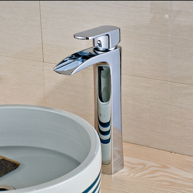 New Chrome Finished Deck Mounted Bathroom Hot and Cold Water Sink Faucet Mixer Tap new deck mounted cold automatic sensor hands faucet chromed free bathroom sink tap cold only sensor faucet chrome for bathroom