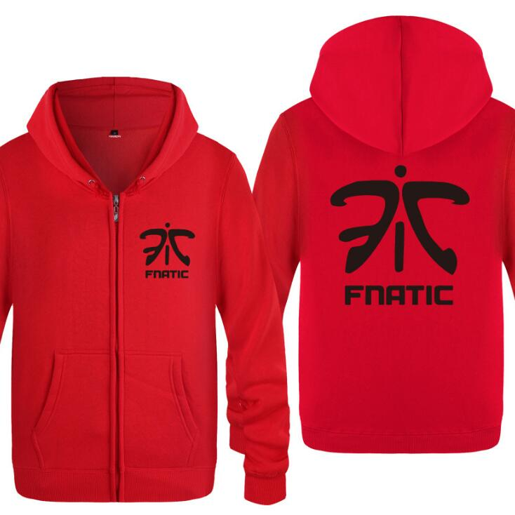 Mens Hoodie Games Fnatic Team LOGO Zipper Hoodies Men Fleece Long Sleeve Jacket Coat High Quality Skateboard Pullover Sweatshirt