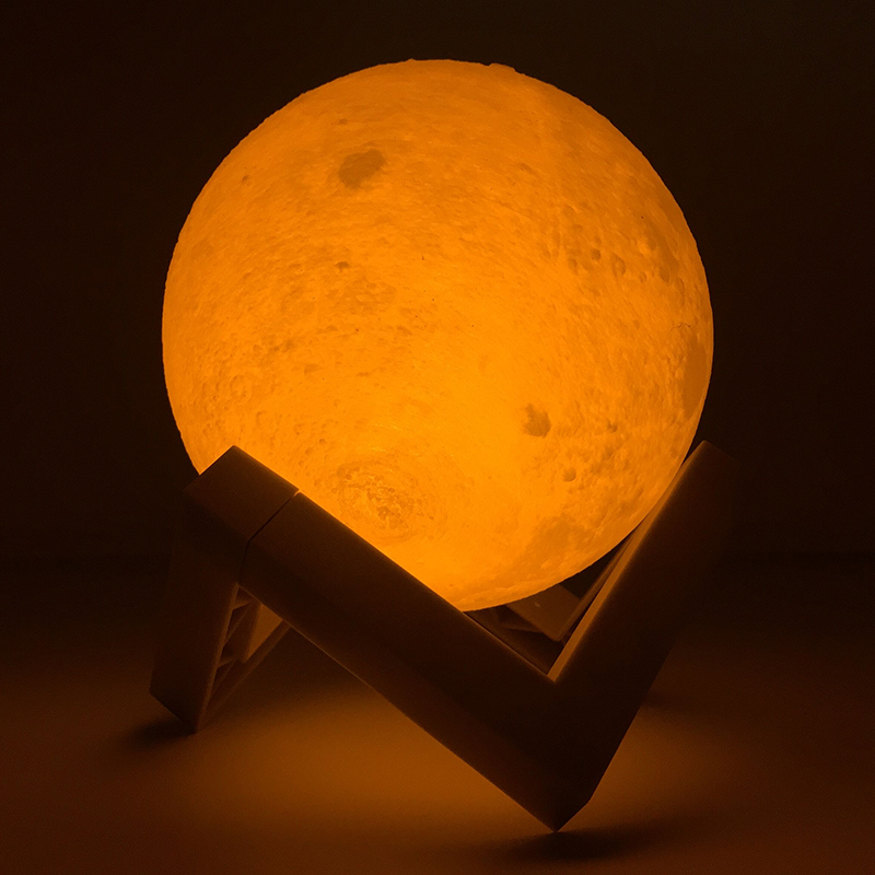Z30 Rechargeable 3D Print Moon Lamp 3 Color Change Touch Switch Bedroom Bookcase Night Light Home Decor Creative Gift