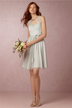 Lace Bridesmaid Dress for Cheap 2017 Modest Ribbons A Line Junior Wedding Party Dresses Tulle V Neck Knee Length Bridesmaid Gown