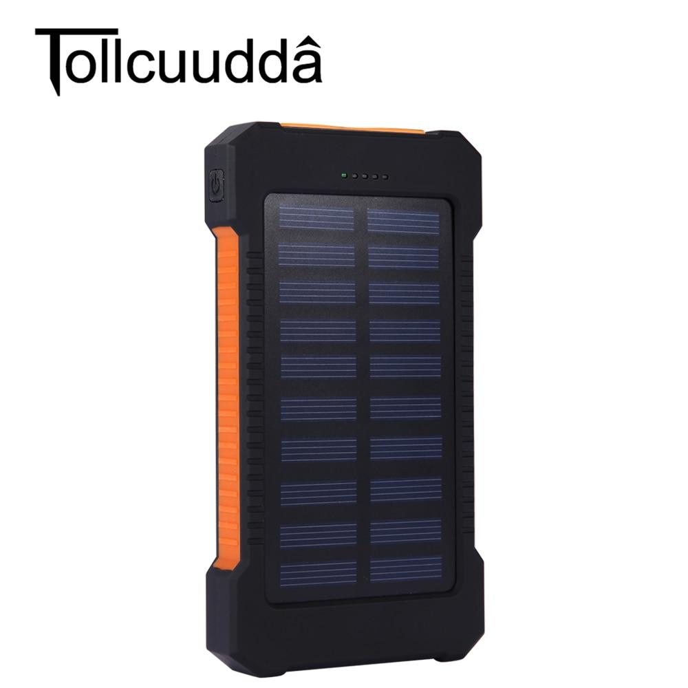 Tollcuudd 10000 mah impermeable portable cargador solar dual usb power bank bate