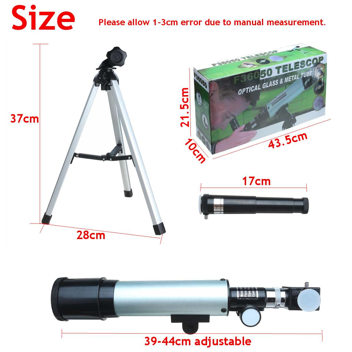 360x50mm f36050m telescópio astronômico de acampamento monocular