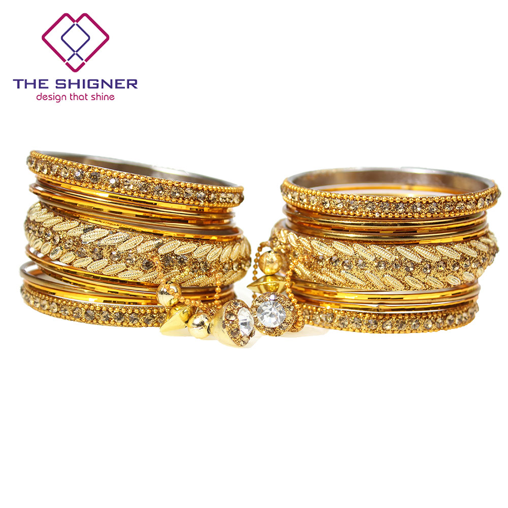 US $23 59 |THE SHIGNER Bollywood Jewelry Golden Color Latkan Jhumka Jhumki  Wedding Choora Bangles Set 26pcs/set Indian Kada Chuda Jewelry-in Bangles