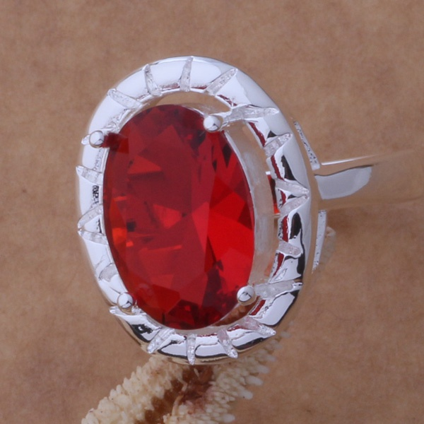 925 Sterling Silver Ring Fashion Jewerly Ring Women&Men elegant/red stone /eeeamvla fuaaolha AR355
