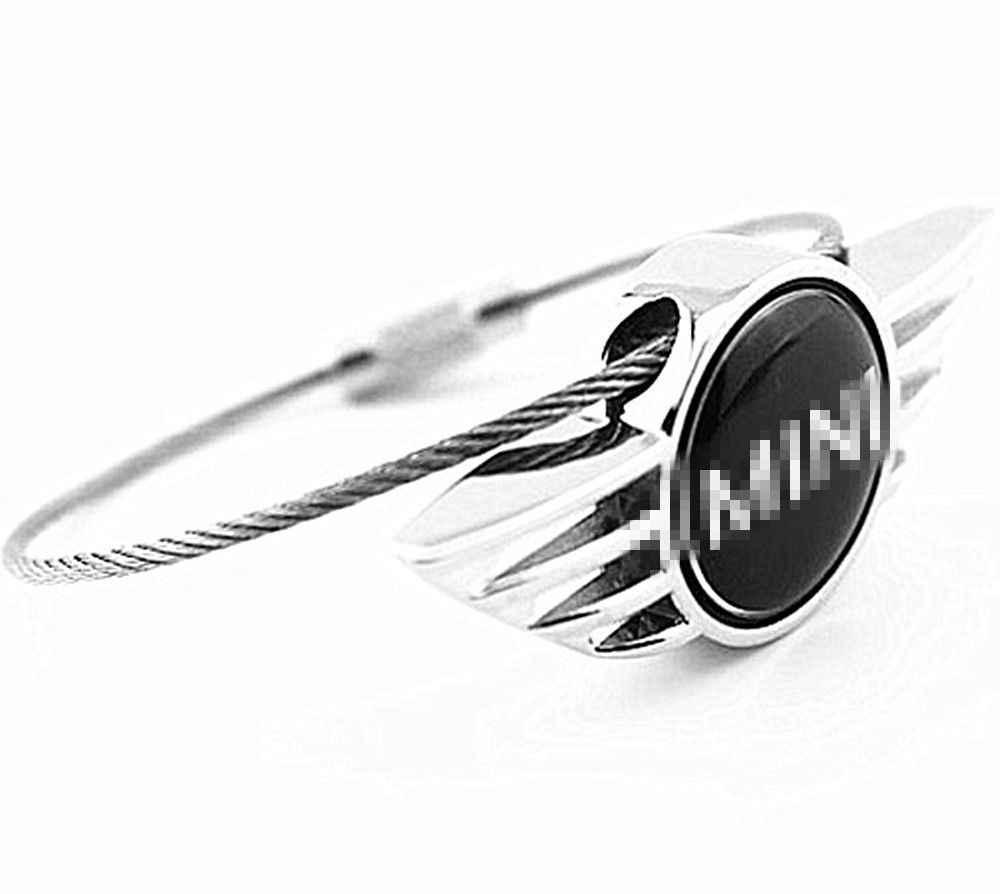 1 PC pour MINI Cooper porte-clés porte-clés argent métal Auto voiture Mini aile Logo voiture accessoires
