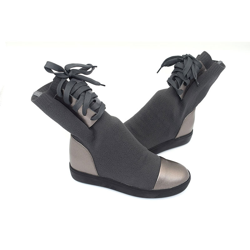 grey Fw212 Invierno Mujeres Lana Botas Otoño De Cuero Tenis Autumn Las Autumn Black Genuino black Winter Zapatos Mujer Botines IwI7T4q