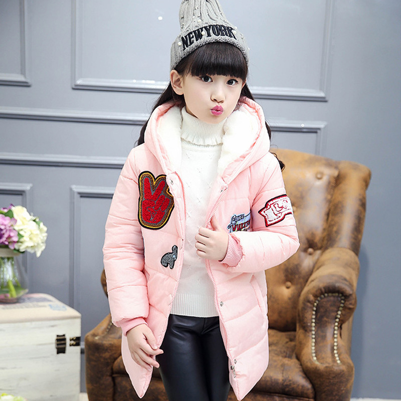 ФОТО Fashion Girl Jacket Winter Cotton-padded Coat Parka Kid Warm Long Thick Down Jackets Korean Style Cartoon Girls Winter Outerwear