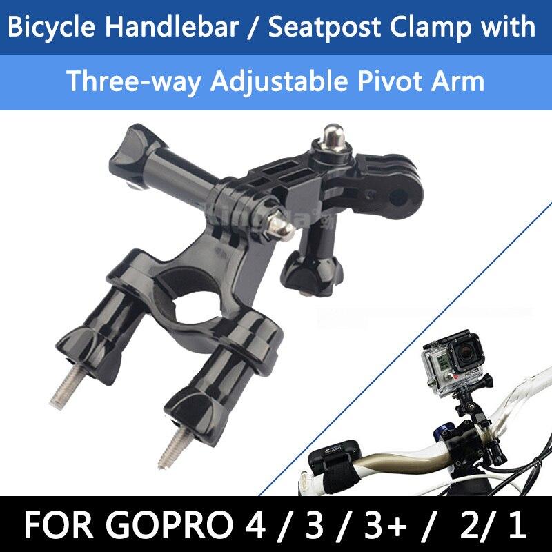 Para gopro Accesorios motocicleta Bicicletas bicicleta Agarraderas tija pole Mount + 3 maneras Pivot ARM para GoPro Hero 4 3 + 1 2 3 sj9000
