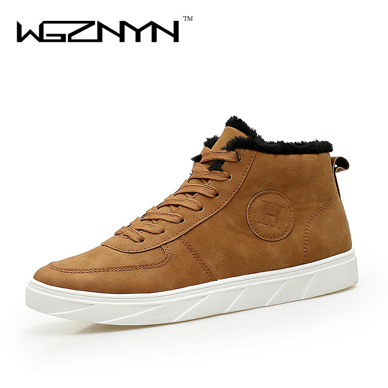 WGZNYN 2017 New Fashion Men Snow Boots Plush Super Warm Suede Leather Boots Men Boots Work