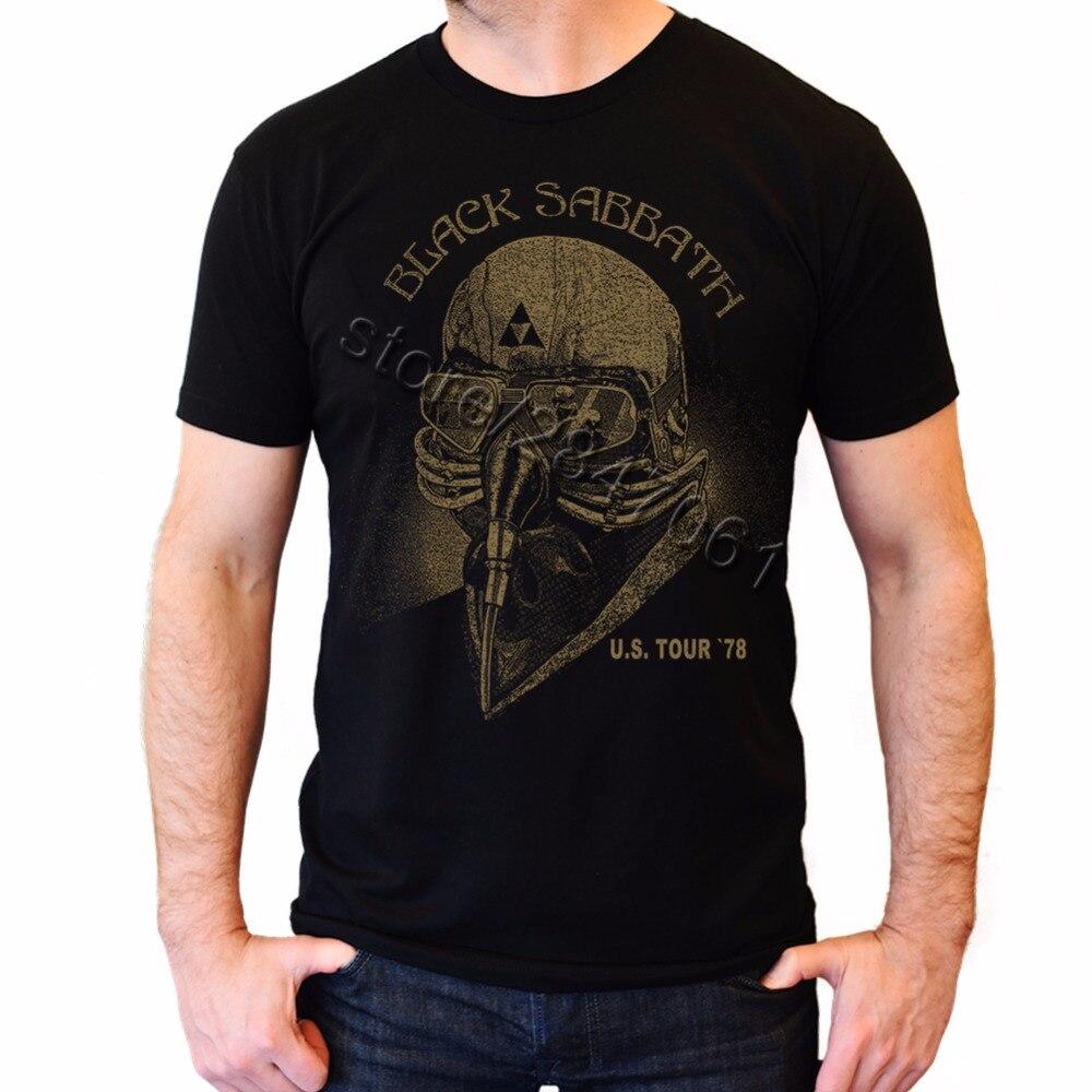 Men's Tony Stark   T     shirt   Black Sabbath US Tour Tee Merch 78 U.S. USA 1978   T  -  Shirt   Men Short Sleeves Cotton Male Big Shize   Shirts