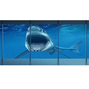 Image 2 - יפה נוף בעלי החיים כריש אופני רגל ויניל קיר מדבקת עבור Twin מלא מלכת מלך מיטת תפאורה במעונות שינה עיצוב הבית