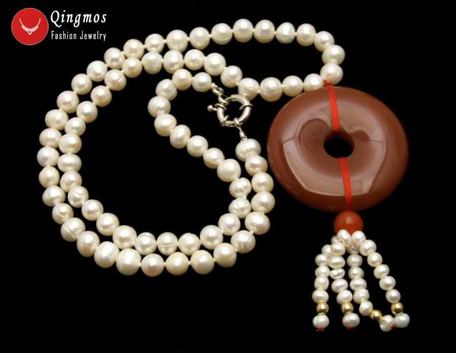Qingmos Colar Pérola Natural para Mulheres com 6-7mm Branco Rodada de água doce da Pérola & 40mm Donuts Forma Vermelho ágatas Jóias Pingente de Colar