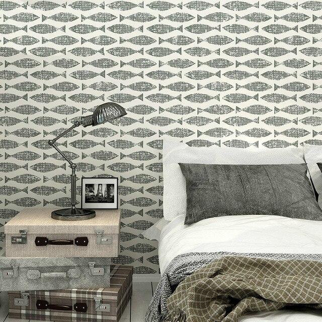 Samaki Fisch Tapete Blau Grau Modernes Design Wandpapierrolle  Kunstwanddekor Funktion Wallpaper Für Wände