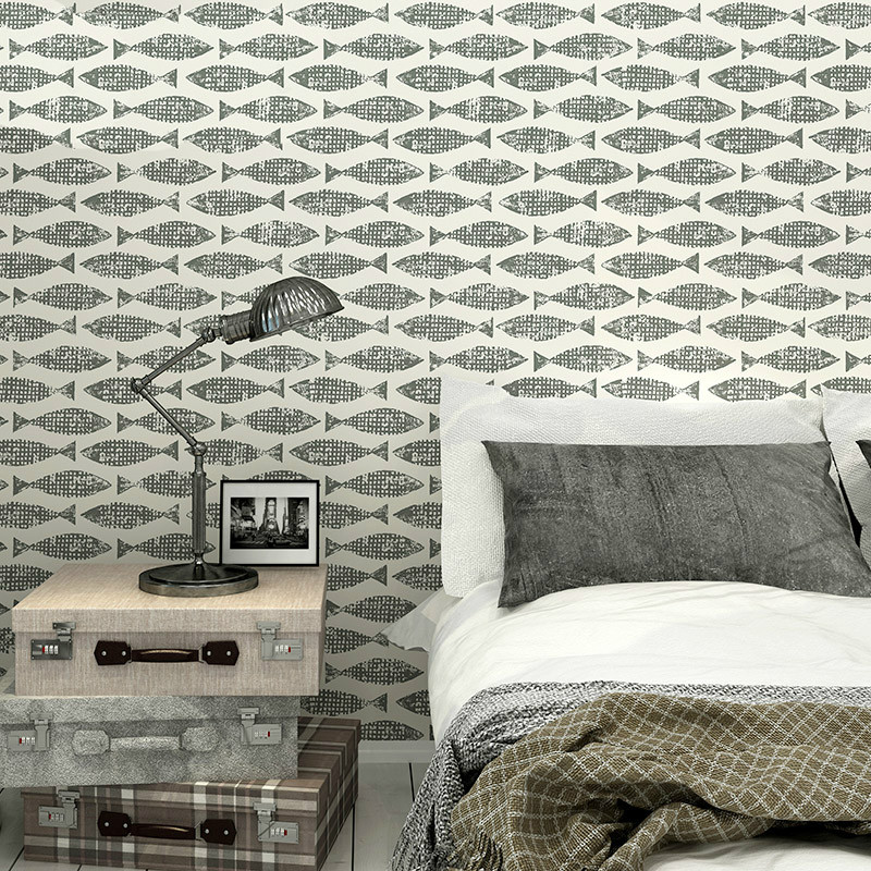 Samaki Fish Wallpaper Blue Grey Modern Design Wall Paper Roll Art Wall Decor Feature Wallpaper For Walls