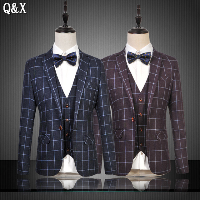9eed97c5cd1c0 US $76.55 26% OFF|MS55 2017 New Arrival Man Suit Handsome Single breasted  Notched Lapel Three Pockets Damier Check Dinner Suit (jacket+pants+vest)-in  ...