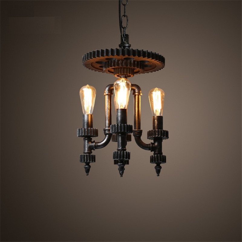 Edison Loft Style Water Pipe Droplight Creative Wood Gear Retro Pendant Light Fixtures Hanging Lamp Vintage Industrial Lighting loft style metal water pipe lamp retro edison pendant light fixtures vintage industrial lighting dining room hanging lamp