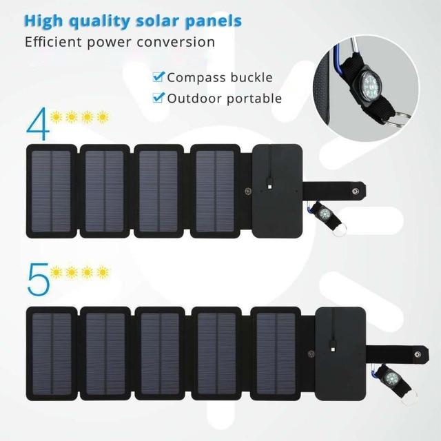 LERRONX المحمولة لوحة طاقة شمسية s شاحن 10 واط 5 فولت 2.1A Sunpower لوحة شمسية قابلة للطي تهمة بطارية للهاتف المحمول التخييم في الهواء الطلق
