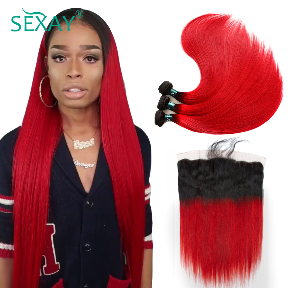 redstw  Sexay 13×4 Lace Frontal With Bundles Brazilian Straight Hair three Bundles With Closure Darkish Roots Crimson Ombre Human Hair With Frontal HTB1xXOznr1YBuNjSszeq6yblFXax