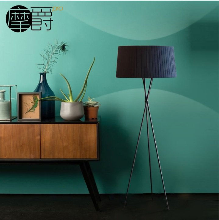 Tripod Floor Lamp in Black 170cm Height with 55cm Fabric Shades цена