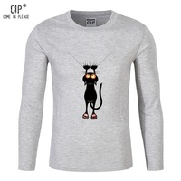 Cat Print Tracksuit T Shirt Muscle Shirt 100 Cotton Brand Clothes For Men Long Sleeves Loose