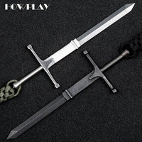 HowPlay cross sword hand thorn metal self defense weapon girl anti wolf supplies EDC tools boy self defense tools toy Keychain