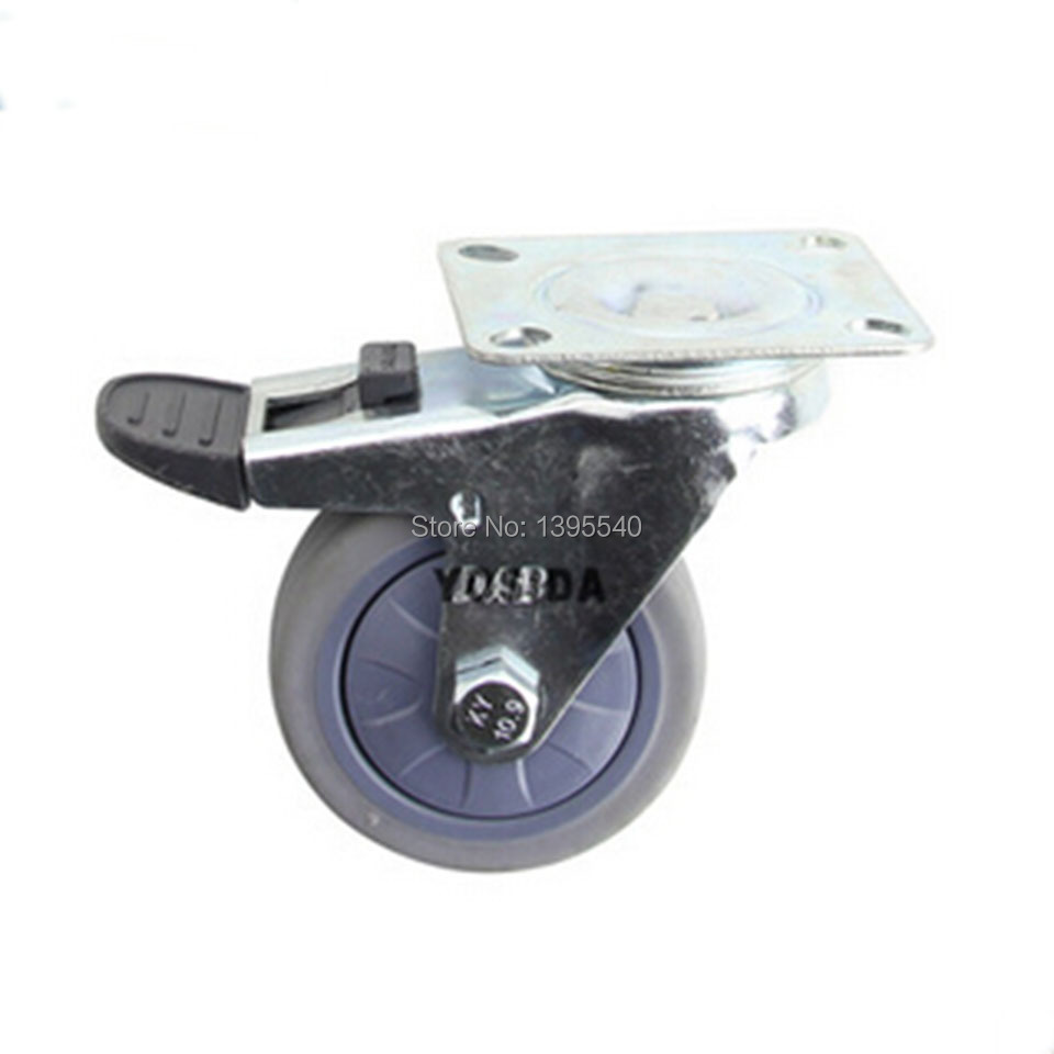 New  3'' Durable Swivel Wheels Caster Industrial Castor Univeral Wheel Brake Artificial Gum 360 Degree Rolling Heavy Casters
