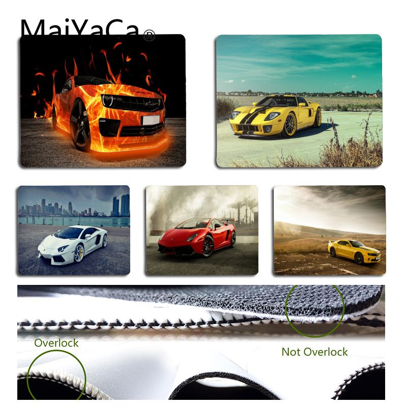 MaiYaCa Vintage Cool Cool Yellow Sport Car Laptop Computer Mousepad Size for 18x22cm 25x29cm Rubber Mousemats image