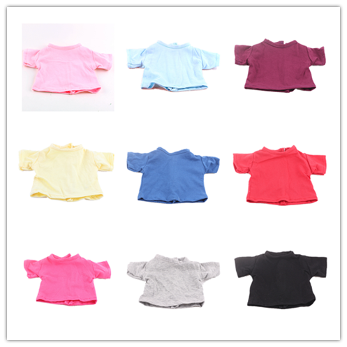 14 Colors Doll T-shirt Solid Color Clothes Wear Fit 18 Inch American Doll & 43 Cm Born Doll For Generation Girl`s Toy