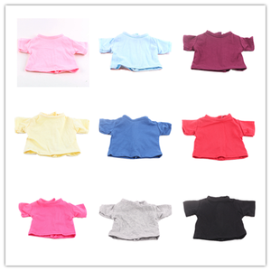 14 Colors Doll T-shirt Solid Color Clothes Wear Fit 18 Inch American Doll & 43 Cm Born Doll For Generation Girl`s Toy(China)