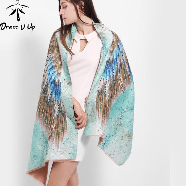 [DRESSUUP]Newest Design Bandana Printing Winter Scarf Women Shawls Thicken Wings Scarfs Warm Scarves Wool Brand Scarf Woman Wrap