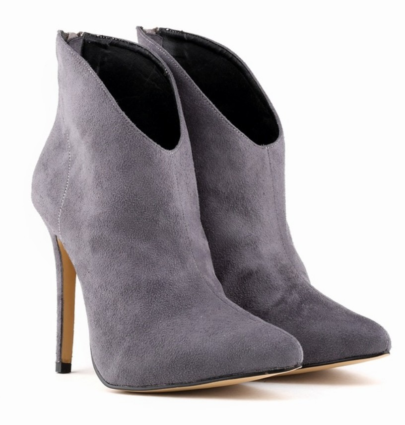 Womens Gray Ankle Boots - Cr Boot
