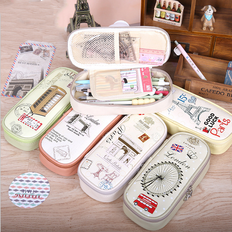 Korean Creative School Pencil Case Eiffel Tower Girls Boys Large Pen Bag Escolar Penalty Pouches Box School Stationary korean creative school pencil case eiffel tower pen bag kawaii girls boys large pencil case penalty pouches box