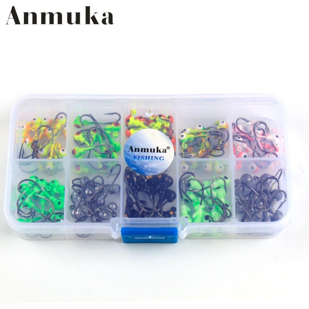 Anmuka 100Pcs/box 1g /2g  Multicolor Lead Head Jigs With Single Hook Pesca Accessories Sea Fishing Enquipment Tackle Box