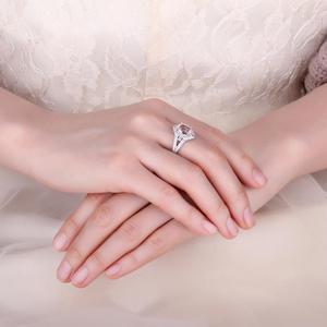 Image 4 - JewelryPalace בציר פיצול Shank 3ct סגלגל נוצר Morganite ספיר מתכוונן להרחיב טבעת 925 כסף סטרלינג תכשיטי ביצוע