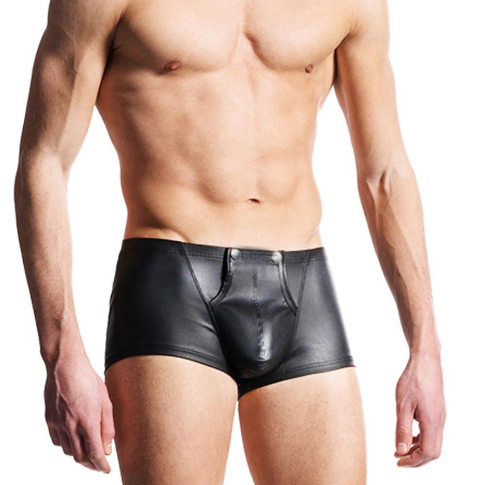 2019 Sexy Open Bulge Pouch Men's Boxers Underwear Faux Leather Shorts Underpants