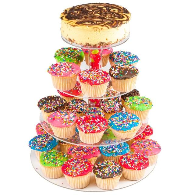 Cake Decorating Tools 4 Layer Stand Round Acrylic Egg Tarts Display Baking Wedding Kid