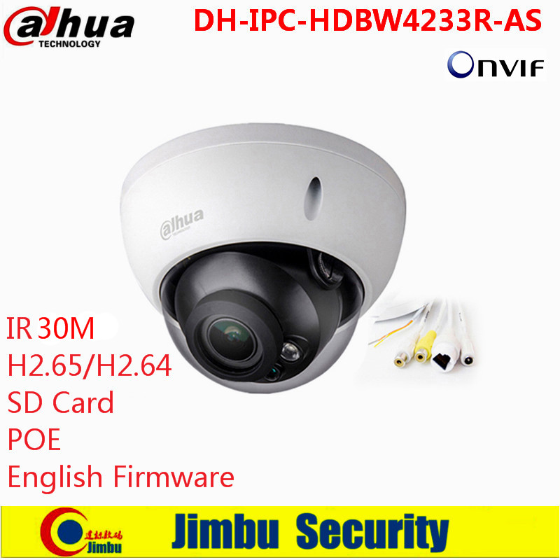 Dahua 2MP IR Mini Dome Network Camera Audio SD card Stellar H265/H264 Poe IP Camera DH-IPC-HDBW4233R-AS h 265 264 ipc lwirdnts400s 4mp ip camera 2 8 12mm varifocal manual zoom lens 4mp ir 30m with sd card slot poe network camera