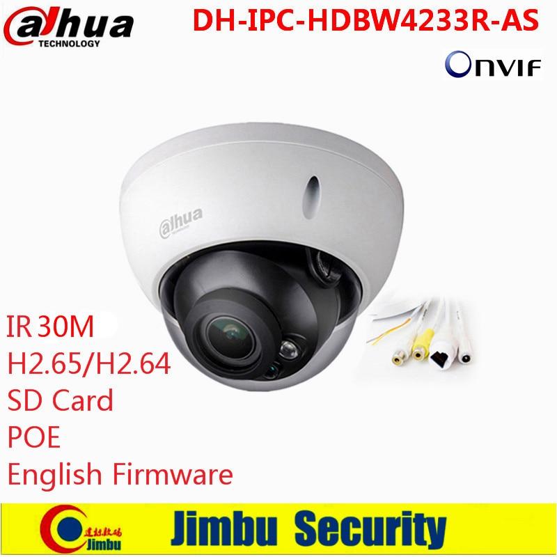 Dahua 2MP IR Mini Dome Network Camera Audio SD card Stellar H265/H264 Poe IP Camera DH-IPC-HDBW4233R-AS wholesale dahua dh ipc hdbw4233r as 2mp ir mini dome network ip camera ir poe audio sd card stellar h265 h264 ipc hdbw4233r as