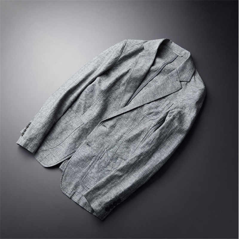 カジュアルブレザー男新リネンスーツのジャケット秋スリムでエレガントな薄型シングルブレスト男性ブレザー春 Ds502