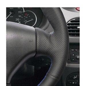 Image 4 - مخيط يدويا أسود بولي Leather الجلود والجلود الاصطناعية عجلة القيادة يغطي التفاف لبيجو 206 1998 2005 206 SW 2003 2005 206 CC