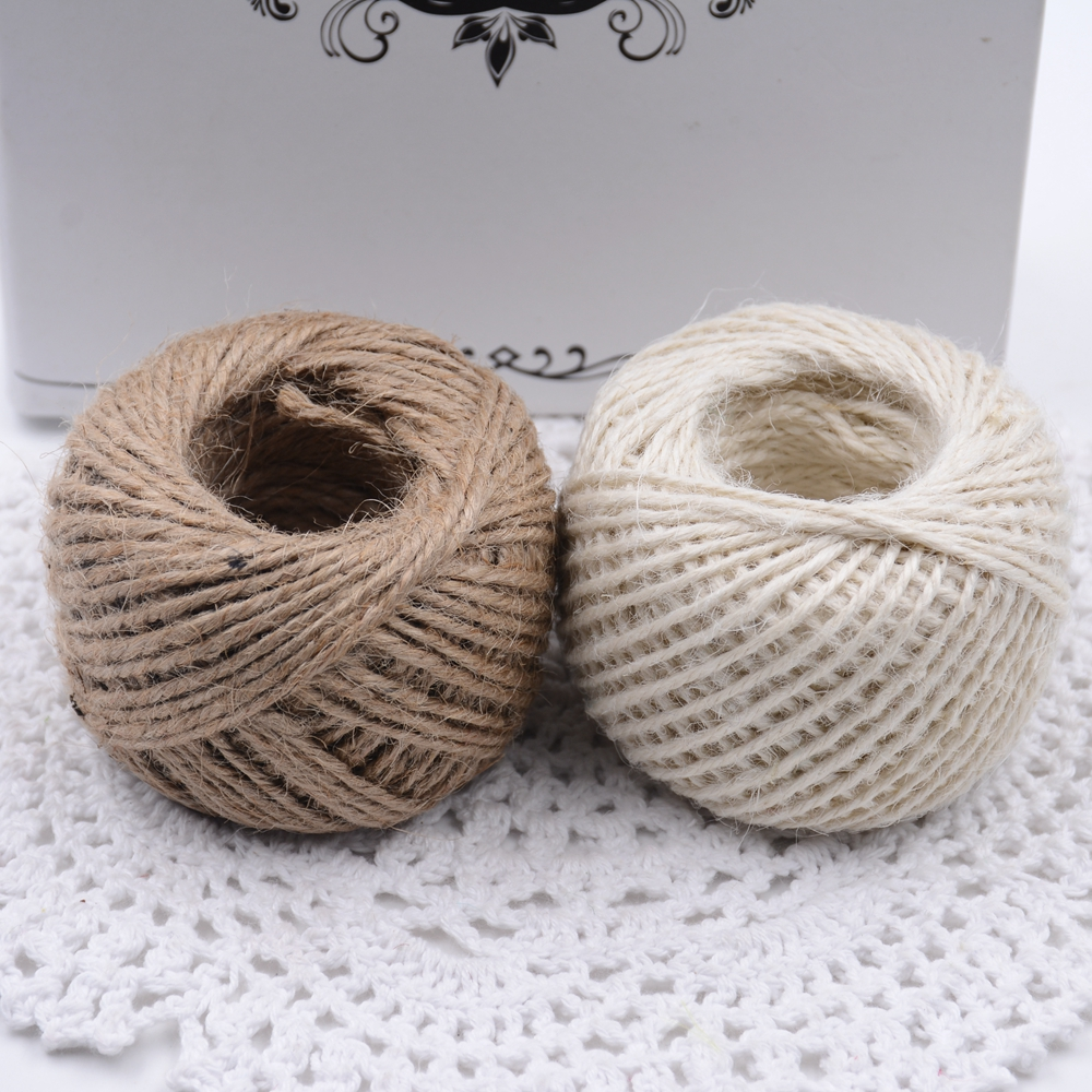 Jute Twine 50meter Natural Flax 2mm Retro Tags Wrap Wedding Decoration Crafts Rope String Cord Bag