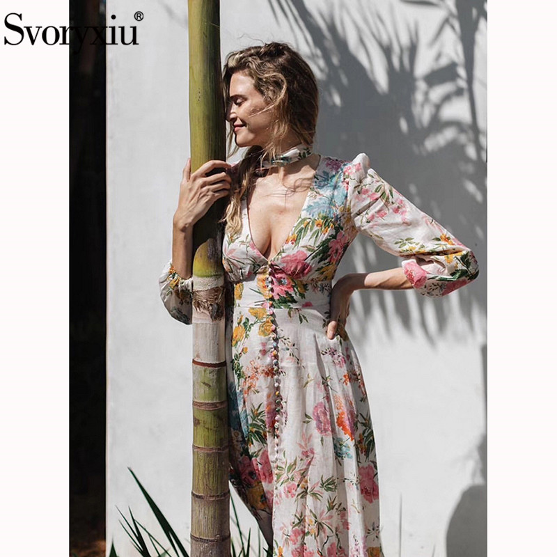 Svoryxiu Designer Sexy col en V imprimé Floral fête robes longues femmes lanterne manches simple boutonnage fente robe-in Robes from Mode Femme et Accessoires on AliExpress - 11.11_Double 11_Singles' Day 1