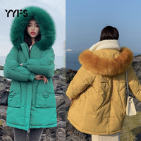 Female winter jackets and Long coats 2019 hooded Parkas for women Wadded Jacket warm Outwear Big Faux Fur Collar chaqueta mujer
