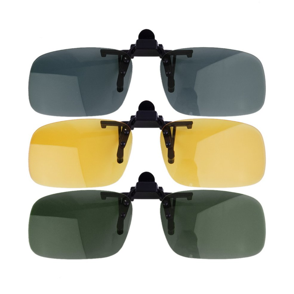 Adult Brown Sunglasses Big Clip On Flip Up Driving Fishing Sun UV 400 Protective