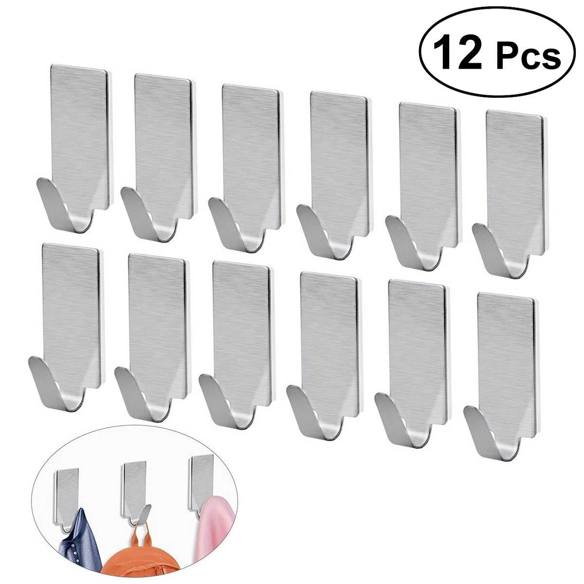 12pcs Strong Self Adhesive Stainless Steel Towel Mop Hooks Wall Hangers for Hanging Kitchen Bedroom Bathroom Accessories