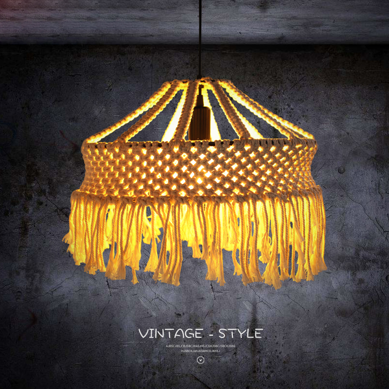 Vintage rope Lampshade Pendant Lamp For Dinning Room,Living Room Retro vintage light bulb wicker Pendant Lights Cotton rope lampVintage rope Lampshade Pendant Lamp For Dinning Room,Living Room Retro vintage light bulb wicker Pendant Lights Cotton rope lamp