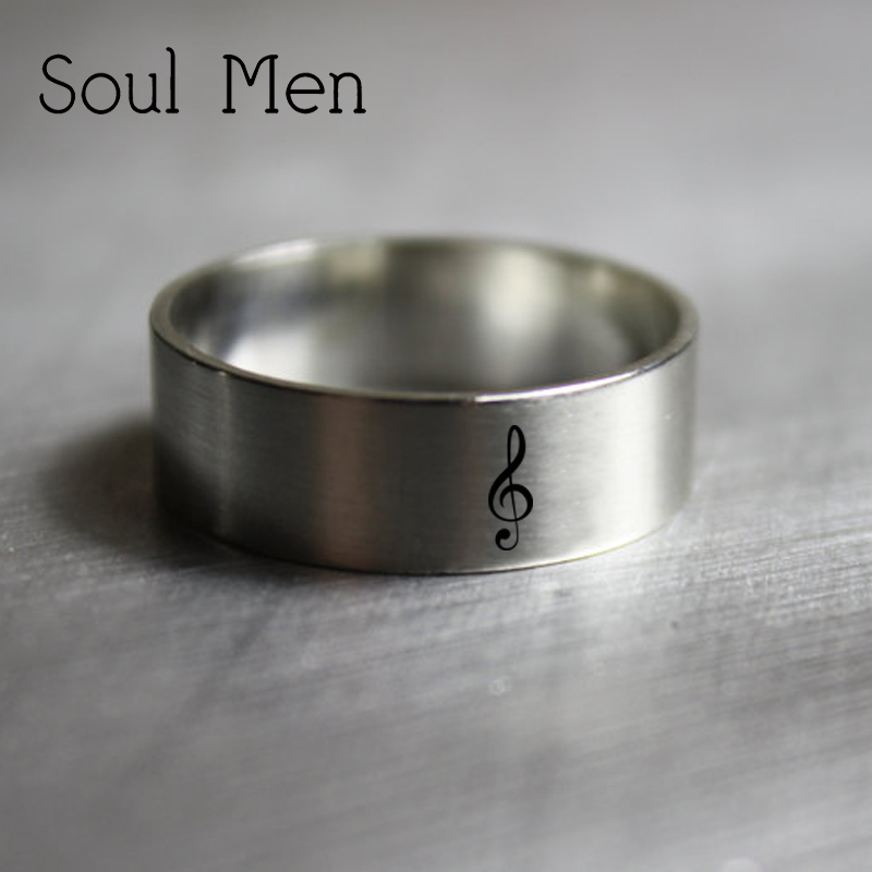 Soul Men 925 Sterling Silver Music Note Treble Clef Ring free Custom Wedding Date Name Simple Music Personalized Jewelry music note party swing dress