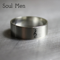 Soul Men 925 Sterling Silver Music Note Treble Clef Ring free Custom Wedding Date Name Simple Music Personalized Jewelry